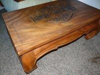 Harley Davidson coffee table in Teak - Hand-made logo ...