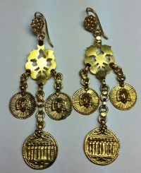 Earrings assembled from North Indian components  18 kt ...