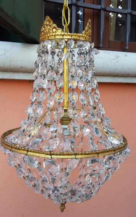 Antico lampadario a 6 bracci, metallo bianco opaco con candele di colore oro, altezza di 96 cm, gocce di cristallo trasparente, diametro di 56 cm,. Lampadario Da Soffitto Francia Con Gocce Di Cristallo Xx Catawiki