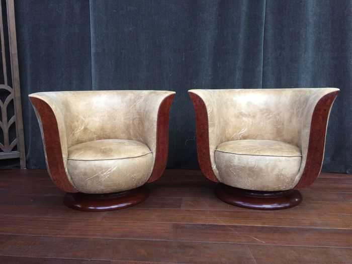 art deco style club chairs pb teen pair of french armchairs nut wood recently upholstered