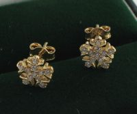 Yellow gold snowflake earrings, inlaid with zirconia ...