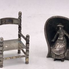 Antique Beach Chair Exercise Ball Cover 2 Silver Miniatures Woman In And Dutch Button Netherlands