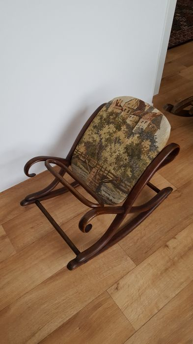 rocking chair footrest paris bistro chairs outdoor old knitting with and embroidery catawiki