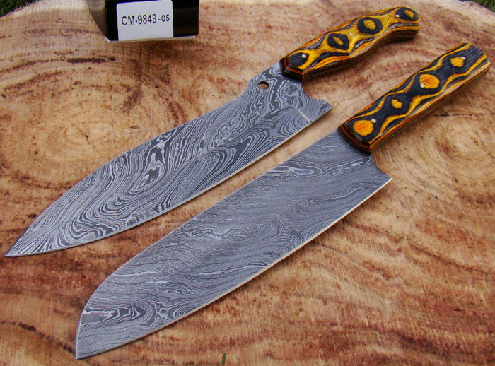 damascus kitchen knives small square table set of 2 handmade steel knife chef s catawiki