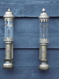 Antique brass train lamps, wagon / carriage lamps ...