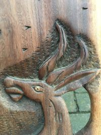 Large chair, 2-piece wood, carved animal figures - Catawiki