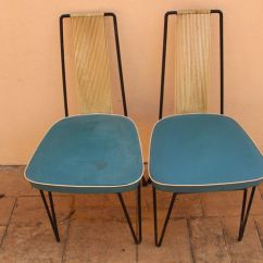 Vintage Kitchen Chairs Stonewall Free Shipping Designer Unknown Pair Of With Leather And Harp String Backs