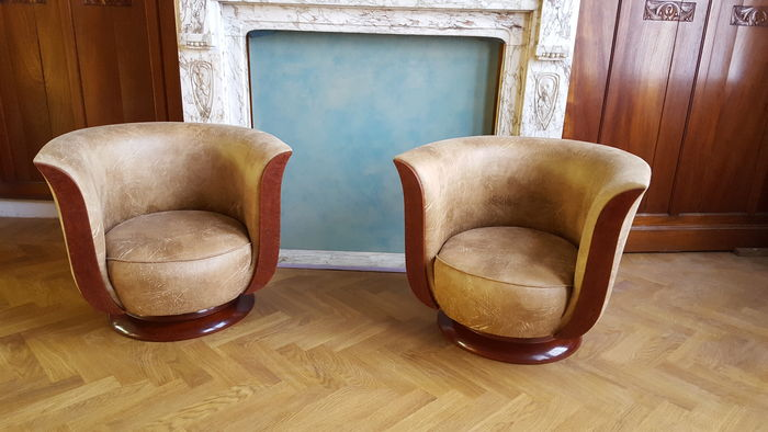 art deco style club chairs bar with backs pair of french armchairs nut wood recently upholstered