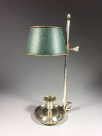 Silver-plated brass 1-light candle bouillotte lamp ...