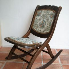 Foldable Rocking Chair Eames Replica Chairs Perth Small Wooden Folding Hand Made Upholstered In Tapestry Fabric