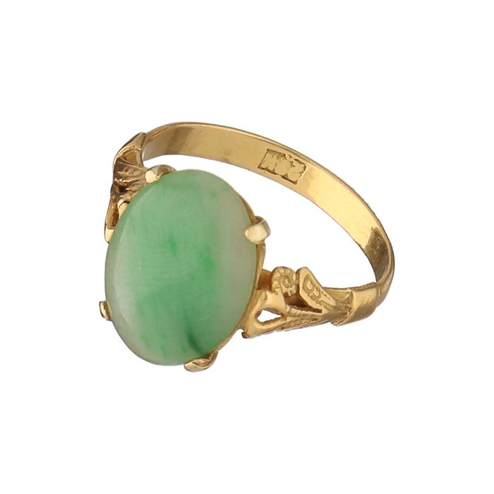Vintage 20 kt Chinese Yellow Gold Ring with Jade  Ring