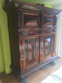Dutch oak, rosewood and ebony linen cabinet, 17th century ...