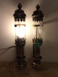 Two antique brass train lamps - Catawiki