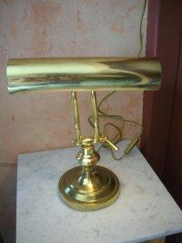 Unknown designer  Vintage, adjustable brass banker's lamp