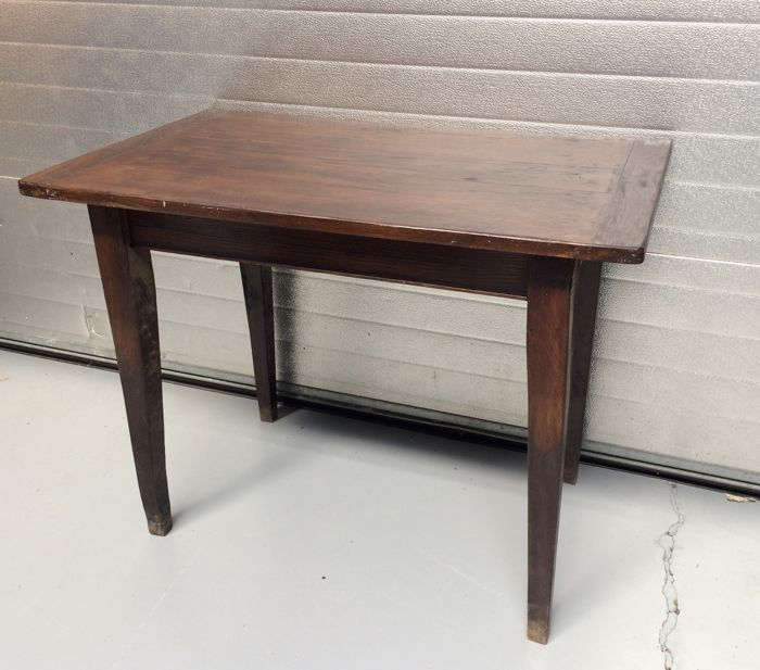 Hardwood kitchen table with drawer, first half of 20th