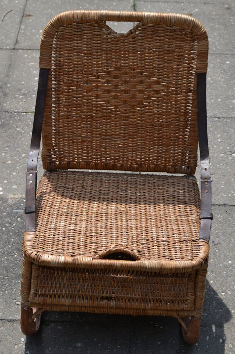 canoe chair parson chairs set of 4 antique vintage wicker and leather 1st half 20th century