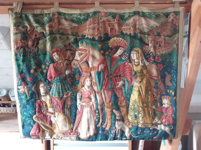 large tapestry medieval scene on a