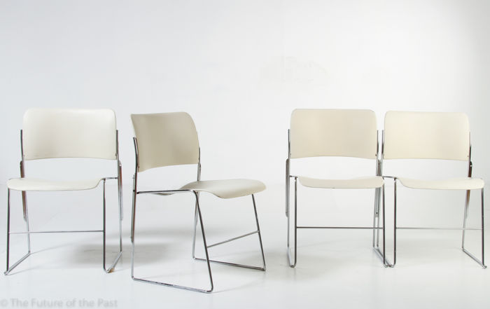 david rowland metal chair koken barber models for howe four cream white 40 4 stackable wire steel