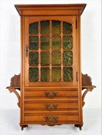 Walnut medicine cabinet with beautiful green glass ...