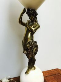 Table lamp with bronze mermaid on marble sphere and ...
