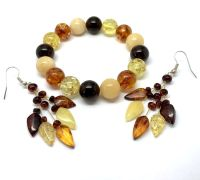 Earrings and bracelets of Baltic Amber, colourful set ...