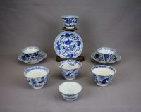 Blue-and-white cups ans saucers - China - nineteenth ...