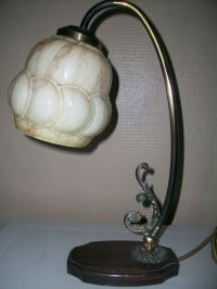 Beautiful Deco Table Lamp, Copper/Glass/Wood - Catawiki