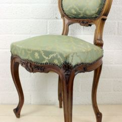 Floral Upholstered Chair Country Kitchen Table And Chairs Antique With Carving Walnut Upholstery Rococo Style