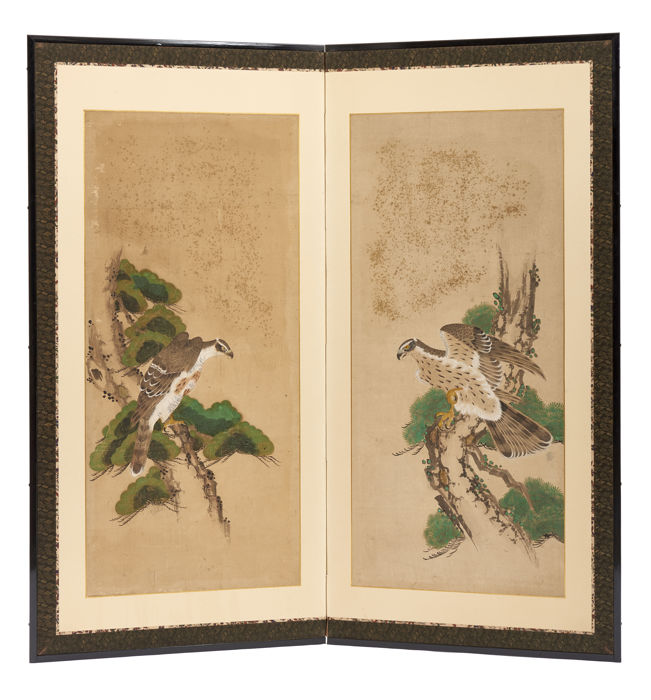 Two panel byobu-screen with birds of prey - Paper - Japan - Early Edo period