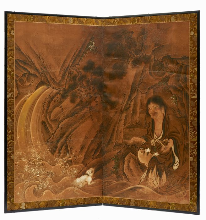 Two-panel byobu screen with a high quality painting - Paper, Wood - a high quality nicely detailed painting depicting Gama sennin accompanied by the inseparable toad - Japan - Edo Period (1600-1868)