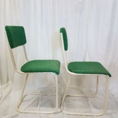 Vintage Kitchen Chairs Cabinets Shelves Manufacturer Unknown With A Firm White Tubular Frame Original Upholstery