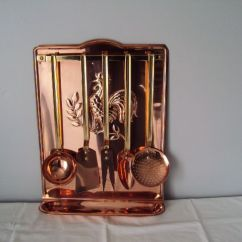 Copper Kitchen Utensil Holder Towel Sets Rare And Old Collector S Complete France