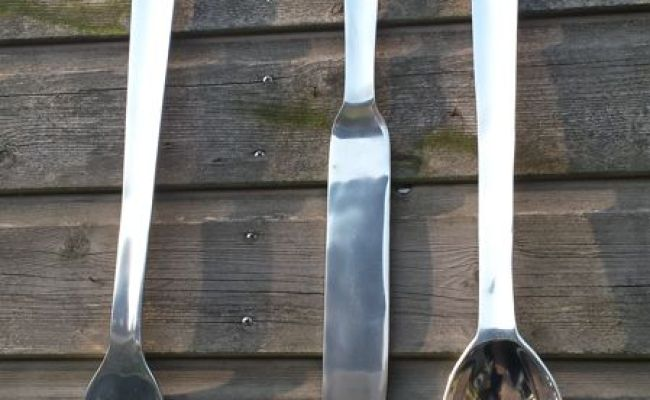Wall Decoration Giant Cutlery Knife Fork And Spoon Of