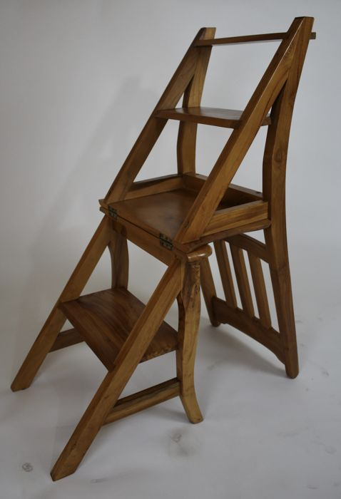 wooden library chair folding measurements ladder second half of 20th century catawiki
