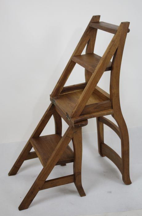 wooden library chair folding decathlon ladder second half of 20th century double function