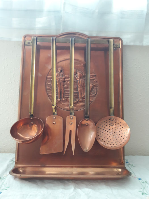 copper kitchen utensil holder stone top table antique collector s utensils from france decor l angelus by jean