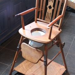Vintage Wood High Chair Predator Hunting Nostalgic Wooden Potty With Wheels And Associated Enamel