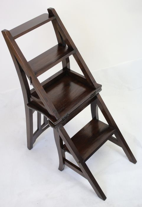 wooden library chair stability ball desk ladder second half of 20th century double function