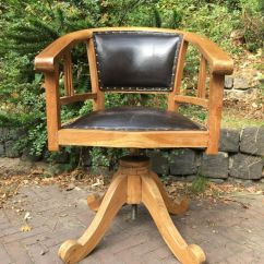 Desk Chair Made Office Knobs Of Wood And Leather Adjustable In Height With A Screw Circa