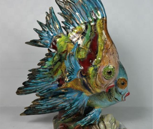Prof Eug Pattarino Colourful Sculpture Of A Pair Of Fish