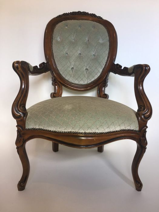 upholstered chairs with wooden arms two seat table and arm chair light green velvet upholstery louis seize style 20th century