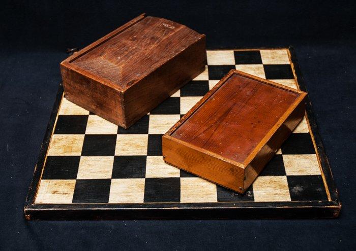 La diga  scacchiera dipinta arte popolare  vari tipi di legno e vernice  Catawiki