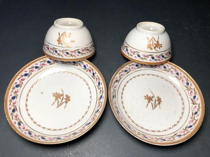 Cup and saucer (4) - Porcelain - Catawiki