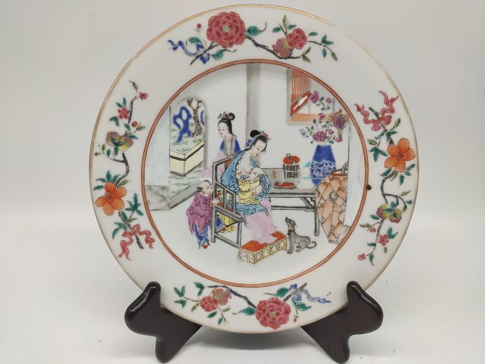 Dish - Famille rose - Porcelain - character - China - Early 20th century - Catawiki