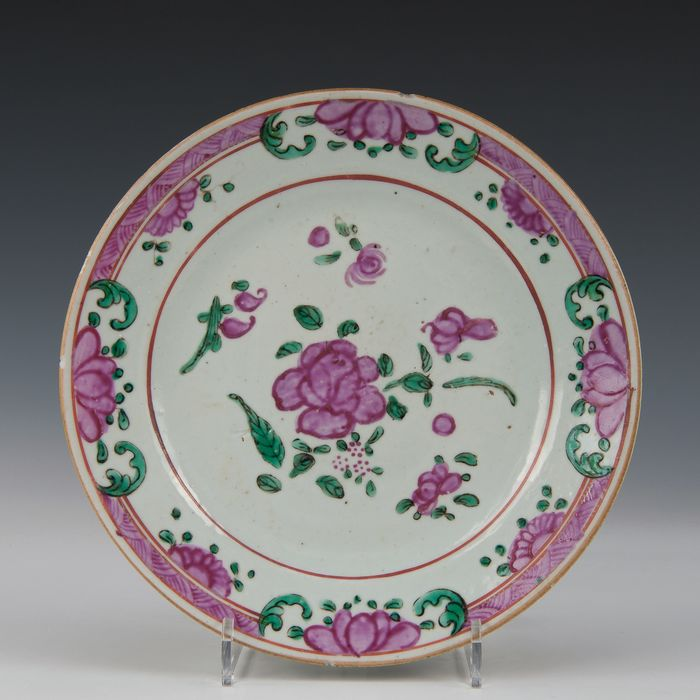 Plate (1) - Famille rose - Porcelain - Flowers - China - Qianlong (1736-1795) - Catawiki