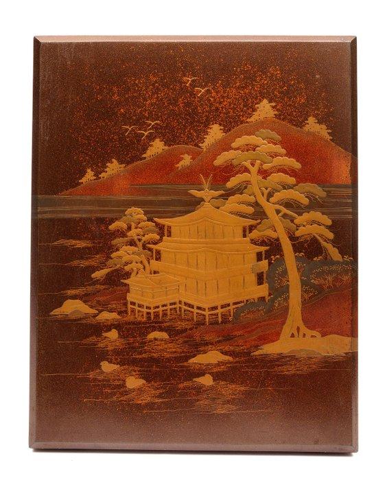 Black lacquered box (ryishibako) - Lacquered wood - Pine tree, Temple - Japan - Meiji period (1868-1912) - Catawiki