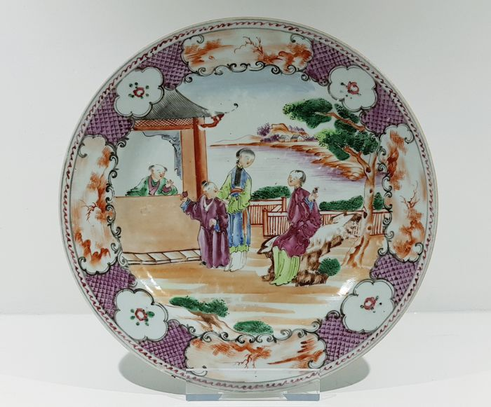 Plate (1) - Famille rose - Porcelain - Long Eliza children - Beautifully decorated Famille Rose plate - China - 18th century - Catawiki