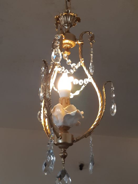Lampadario  Ottone bagno oro 24 k cristalli tagliati e