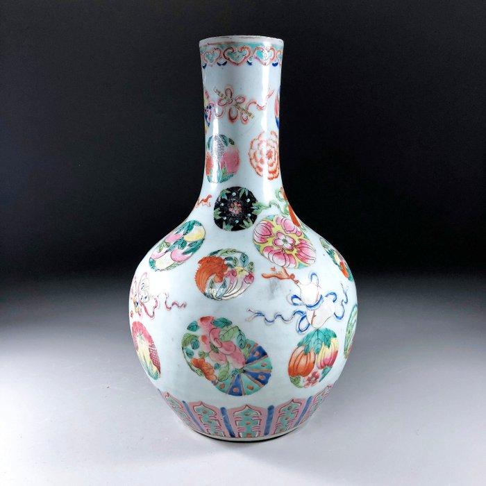 """Large Bottle Vase """"Tianqiuping"""" - Famille rose - Porcelain - Eight Daoist Emblems - China - 19th century - Catawiki"""