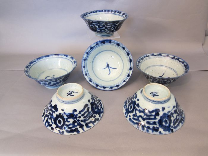 6 Bowls (6) - Blue and white - Porcelain - ming stijl - China - begin 19th century - Catawiki